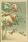 Ohara Koson Japanese Woodblock Print - Sparrows and Nandin in Snow