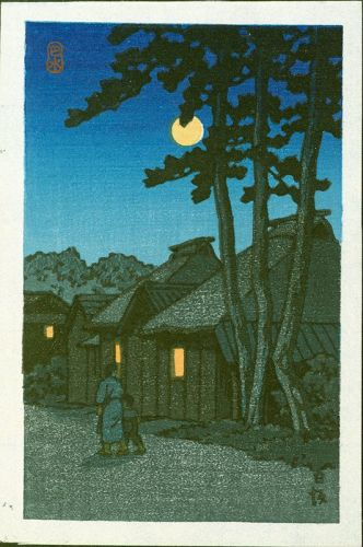 Kawase Hasui Japanese Woodblock Print - Nissaka at Night