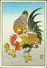 Ohara Koson Japanese Miniature Woodblock Print - Chickens - Rare