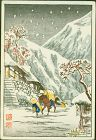 Takahashi Shotei Mini Woodblock Print - Horse Snow Pre-Quake RESERVED