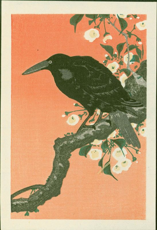 Ohara Koson Japanese Woodblock Print - Crow and Cherry