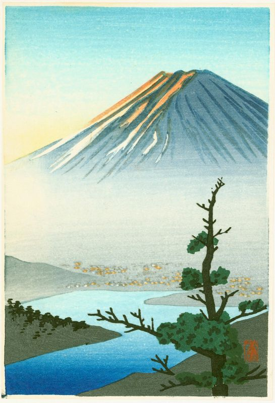 Shien Japanese Woodblock Print - Mount Fuji and River