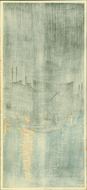 Takahashi Shotei Japanese Woodblock Print - Fishing Boat