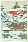 Toshi Yoshida Japanese Woodblock Print - Snowy Temple -Rare - RESERVED