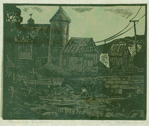 Isabella Brockway Walker Woodblock Print - Early Fisherman (Version 1)