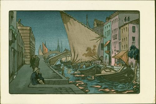 A. Womrath and Yoshijiro Urushibara Woodblock Print - Venice at Night
