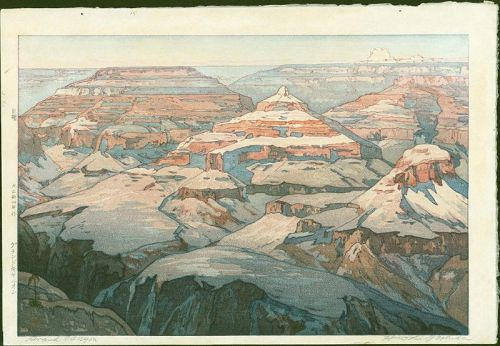 Hiroshi Yoshida - Japanese Woodblock Print - Grand Canyon - Jizuri