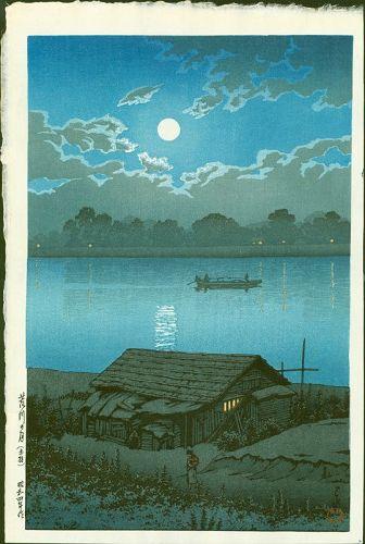 Kawase Hasui Japanese Woodblock Print - Moon Over Arakawa SOLD