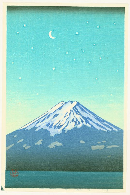 Mt. Fuji and Crescent Moon Japanese Woodblock Print