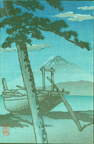 Kawase Hasui Japanese Woodblock Print - Miho at Night - Rare Postcard