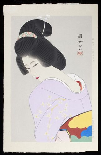 Jinbo Tomoyo Japanese Woodblock Print - Bijin in Lavender Kimono