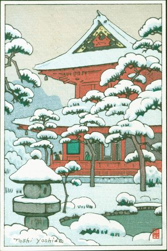 Toshi Yoshida Japanese Woodblock Print - Snowy Red Temple - rare