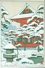 Toshi Yoshida Japanese Woodblock Print - Snowy Red Temple - rare