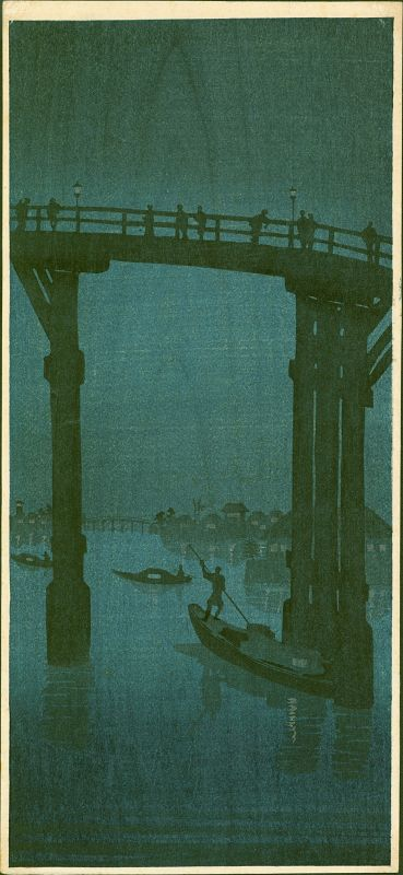 High Bridge Night Scene Japanese Woodblock Print - Whistler-inspired