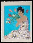 Paul Jacoulet Woodblock Print - Spray of Anthurium Flowers SOLD