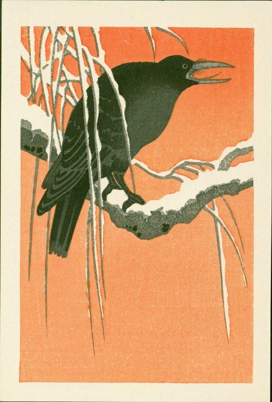 Ohara Koson Japanese Woodblock Print - Crow on Snowy Bough
