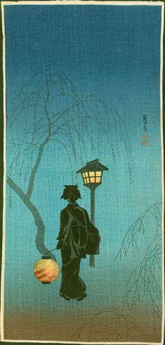 Takahashi Shotei Japanese Woodblock Print - Spring Evening