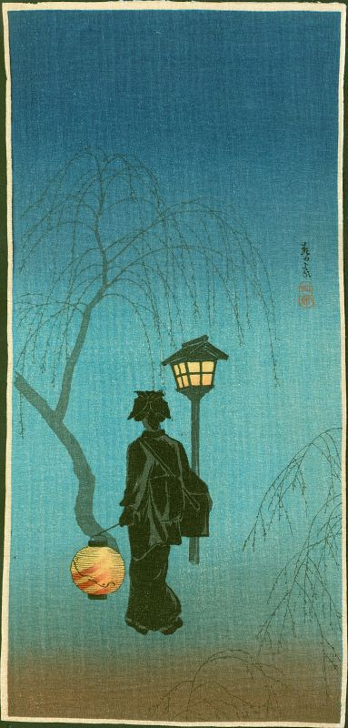 Takahashi Shotei Japanese Woodblock Print - Spring Evening