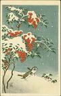 Ohara Koson (Shoson) Japanese Woodblock Print - Sparrows Nandin SOLD