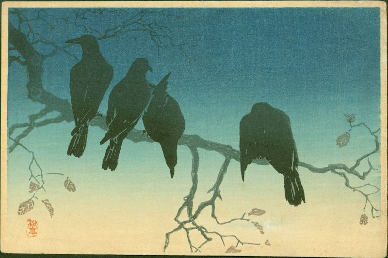 Takahashi Shotei Japanese Woodblock Print - Crows on a Cold Night