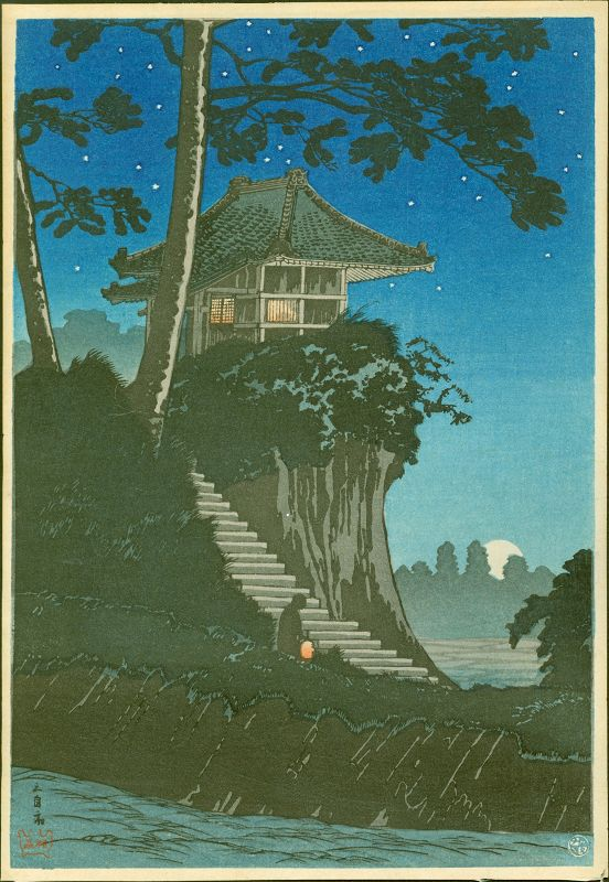 Takahashi Shotei Japanese Woodblock Print - Moonrise at Tokumochi (1)