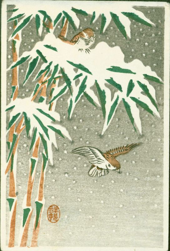 Ohara Koson Japanese Miniature Woodblock Print - Sparrows in Snow Rare