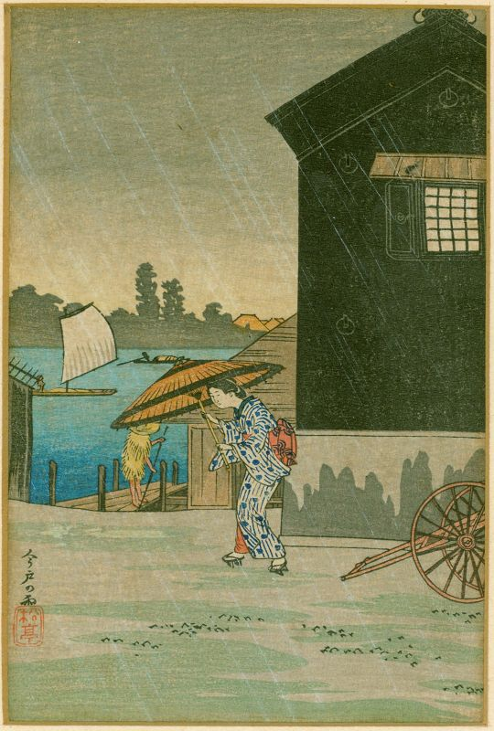 Takahashi Shotei Japanese Woodblock Print - Rain at Imado