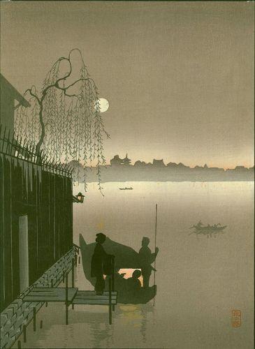 Eijiro Japanese Woodblock Print -Sepia Evening Sumida - Hasegawa Night