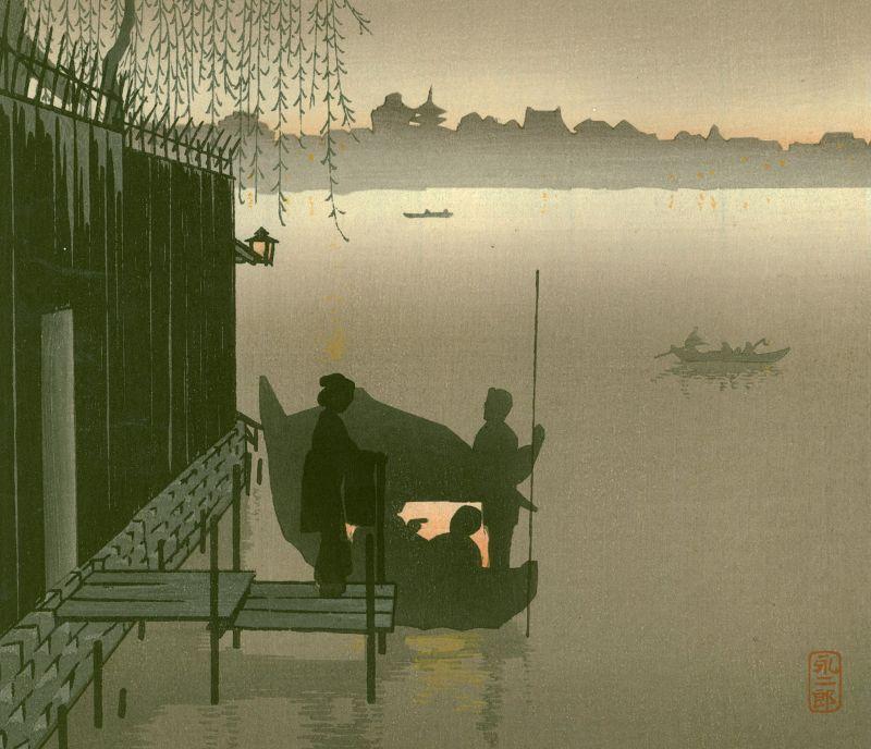 Eijiro Woodblock Print - Evening Cool Sumida - Hasegawa Night SOLD