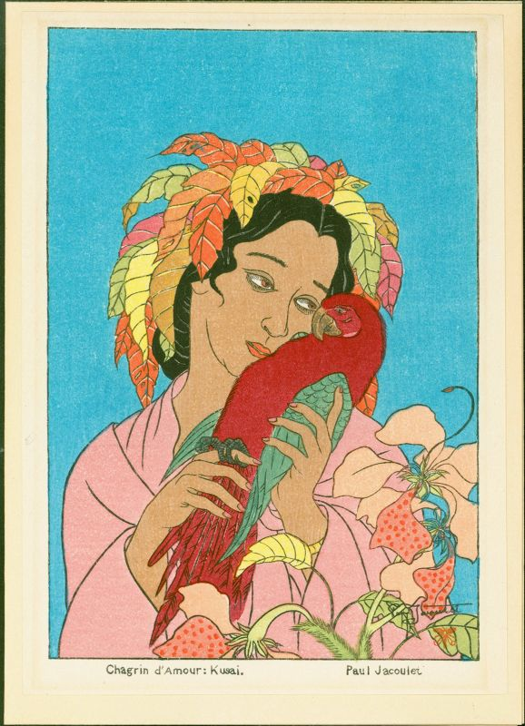 Paul Jacoulet Japanese Woodblock Print - Chagrin d'Amour: Kusai