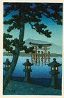 Kawase Hasui Japanese Woodblock Print - Evening at Miyajima