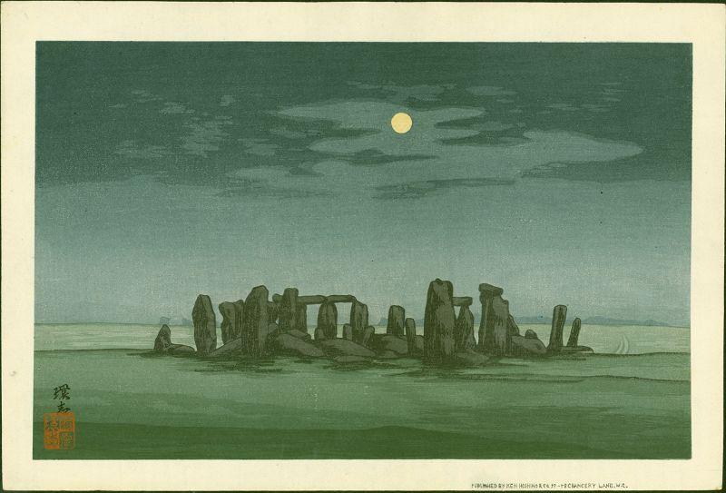 Yoshijiro Urushibara Woodblock Print - Stonehenge in Moonlight  - Rare