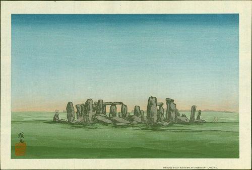 Yoshijiro Urushibara Japanese Woodblock Print Stonehenge at Dawn -Rare