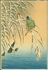 Ohara Koson Woodblock Print - Kingfisher on Snowy Reeds -Rare SOLD