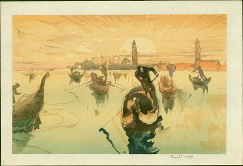 Frank Brangwyn and Y. Urushibara Woodblock - Venice, Golden Morning