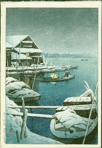 Kawase Hasui Japanese Woodblock Print - Snow at Mukojima SOLD