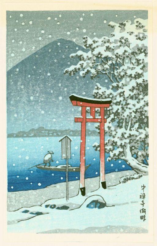 Kawase Hasui Japanese Woodblock Print - Chuzenji Lake, Nikko