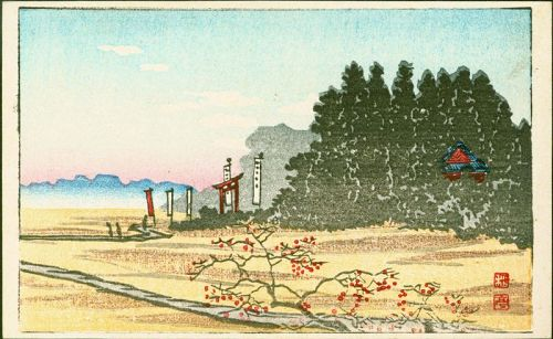 Takahashi Shotei Japanese Woodblock Postcard - Shrine in the Woods