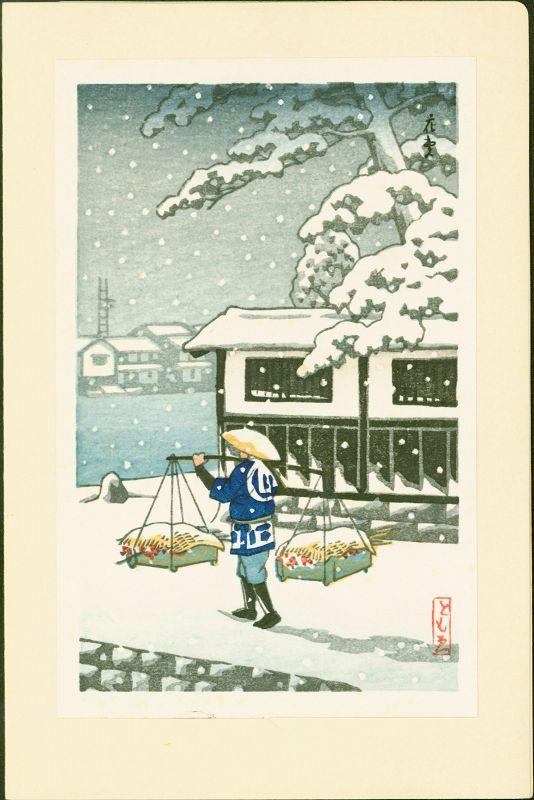 Tomoe Japanese Woodblock Print - Peddler in Snow