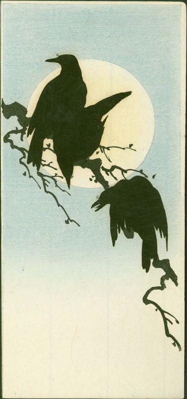 Shoda Koho Japanese Woodblock Print - Three Crows and Moon SOLD