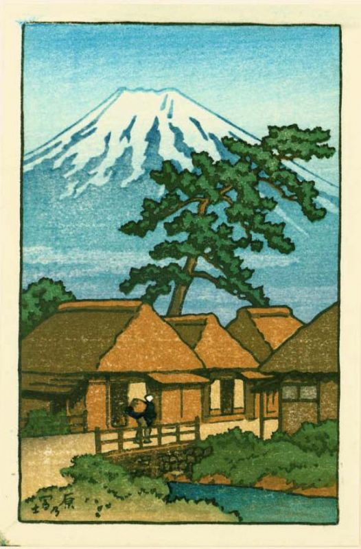 Kawase Hasui (attributed) Japanese Woodblock Print -Mt. Fuji From Hara