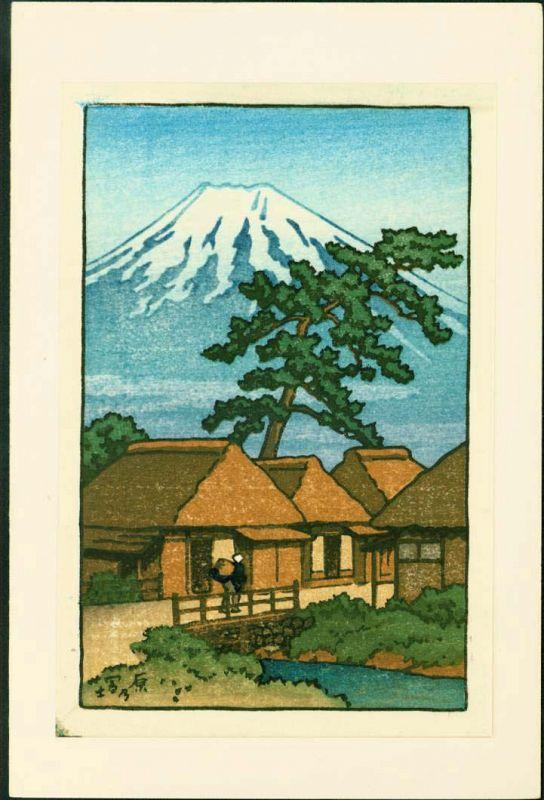 Kawase Hasui (attributed) Japanese Woodblock Print -Mt. Fuji From Hara