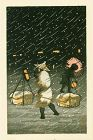 Tomoe Japanese Woodblock Print - Peddler in Snow at Night