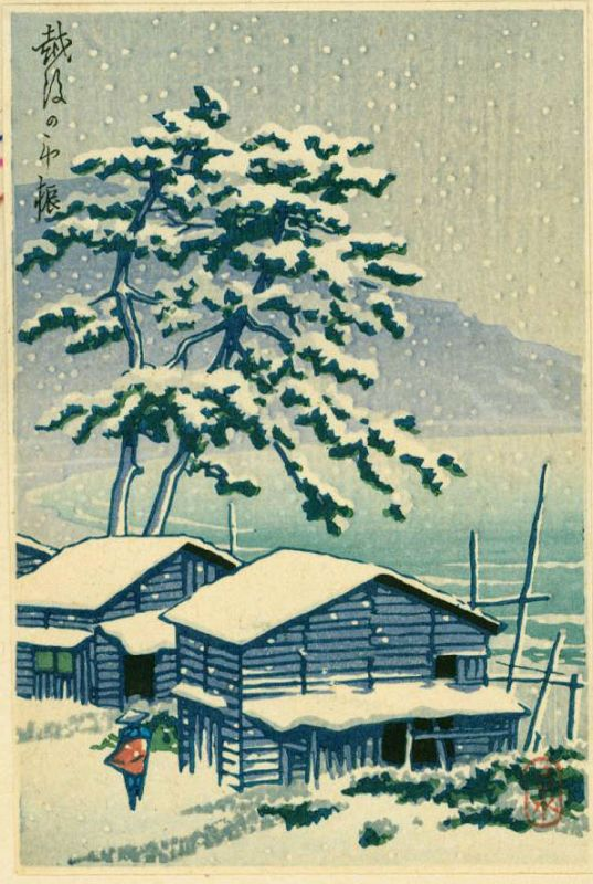 Kawase Hasui Japanese Woodblock Print - Farmhouse in Snow