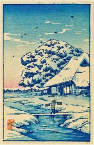 Takahashi Shotei Miniature Japanese Woodblock Print - House After Snow