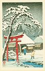 Tomoe Japanese Woodblock Print - Torii in Snow