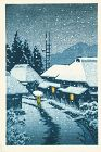 Kawase Hasui Woodblock Print - Evening Snow at Terajima Village