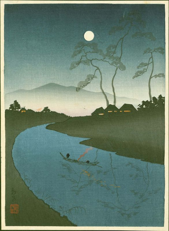 Takemura Woodblock Print - Boat on River at Night - Choka (Hodo?)