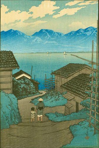 Hasui Pre-Earthquake Woodblock Print - Kamoson Village 1921 SOLD