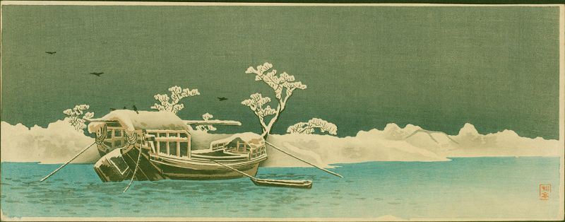 Takahashi Shotei Woodblock  Sumida Bank - The First Shin Hanga SOLD